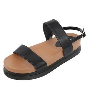 Shoes - Black 2 Band Slingback Flatform Sandal